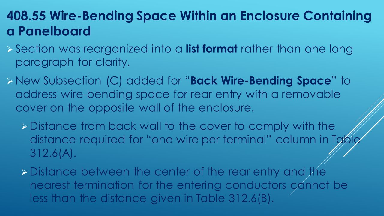 Catching up with 2014 nc electrical code updates from ppt download 40855 wire bending space within an enclosure containing a panelboard greentooth Image collections