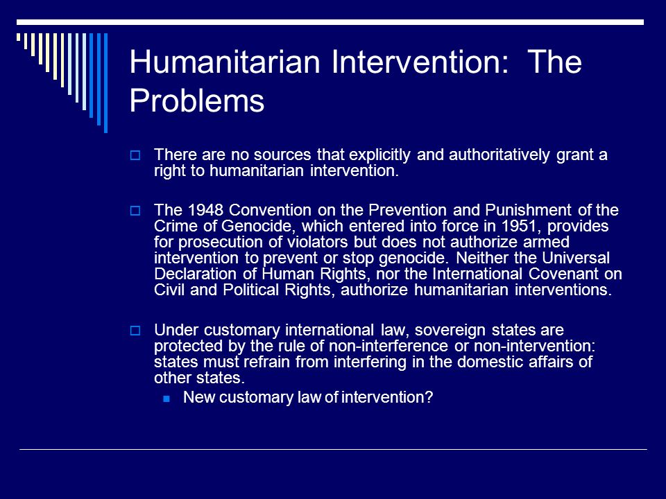 International Relations Relating to Humanitarian Intervention Essay