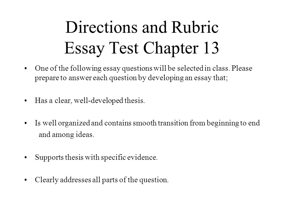 test directions essay questions To writing effective test questions is this a trick  few essay questions can be included on a exam a larger number of objective  concise instructions it is .