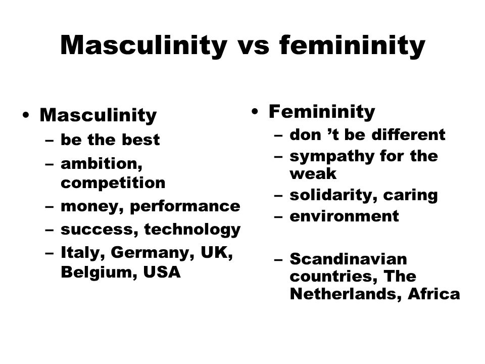 "masculinity vs femininity ""masculinity is the opposite of femininity together, they form one of the  dimensions of national cultures masculinity stands for a society which social  gender roles."