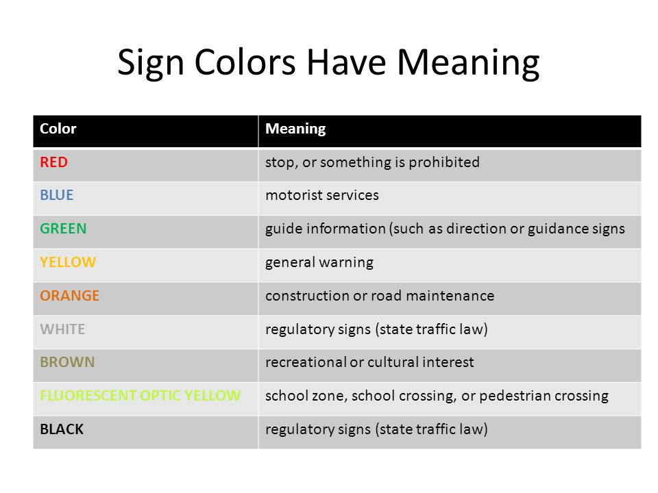 sign color