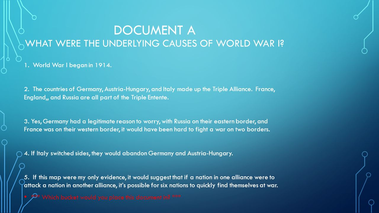 an underlying cause of world war i was