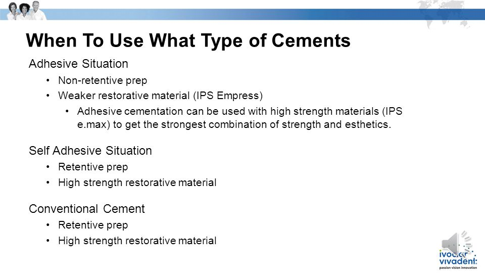 When To Use What Type of Cements