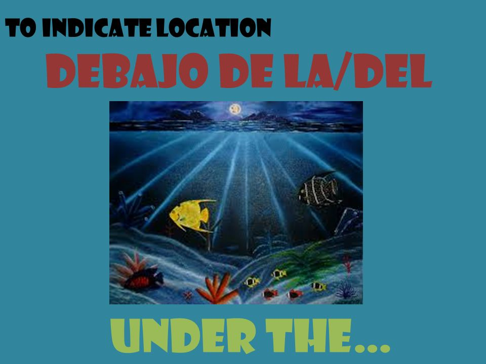 To indicate location debajo de la/del under the…
