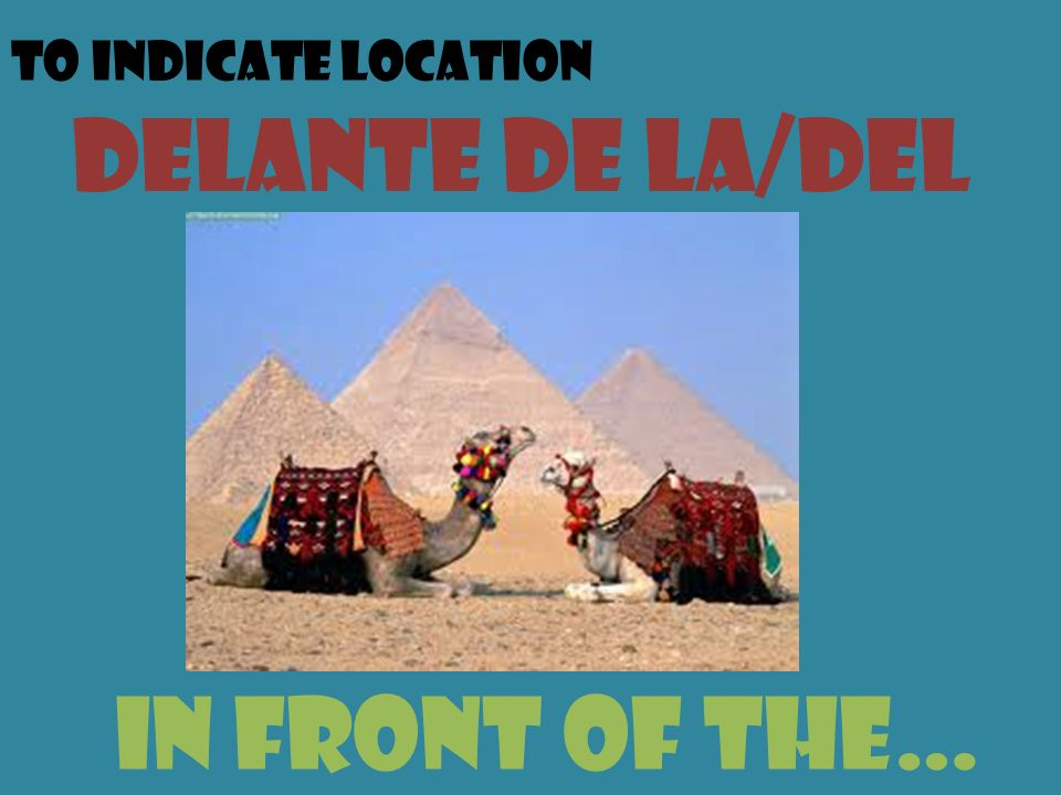 To indicate location delante de la/del in front of the…