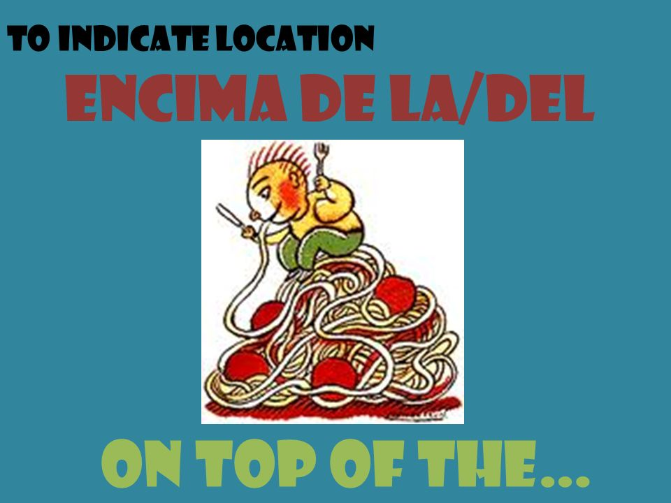 To indicate location encima de la/del on top of the…