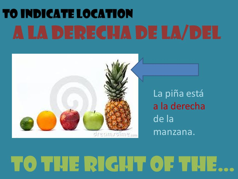 To the right of the… A la derecha de la/del To indicate location