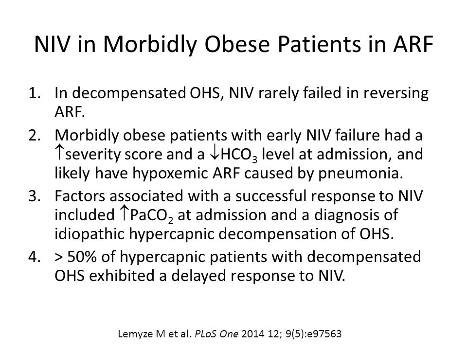 NIV in Morbidly Obese Patients in ARF