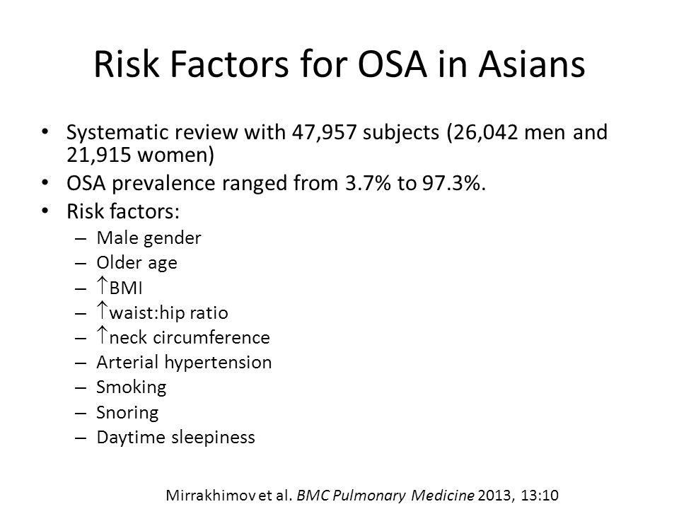 Risk Factors for OSA in Asians