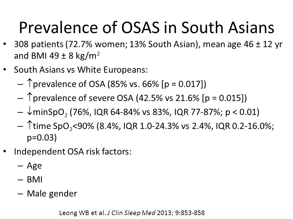 Prevalence of OSAS in South Asians