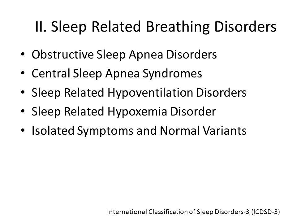 II. Sleep Related Breathing Disorders