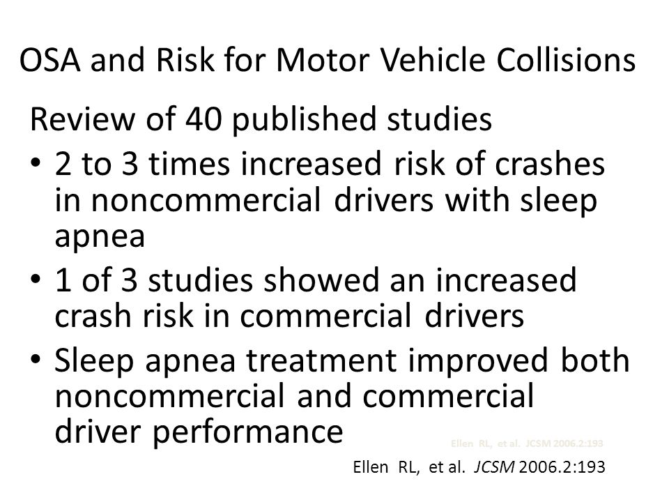 OSA and Risk for Motor Vehicle Collisions