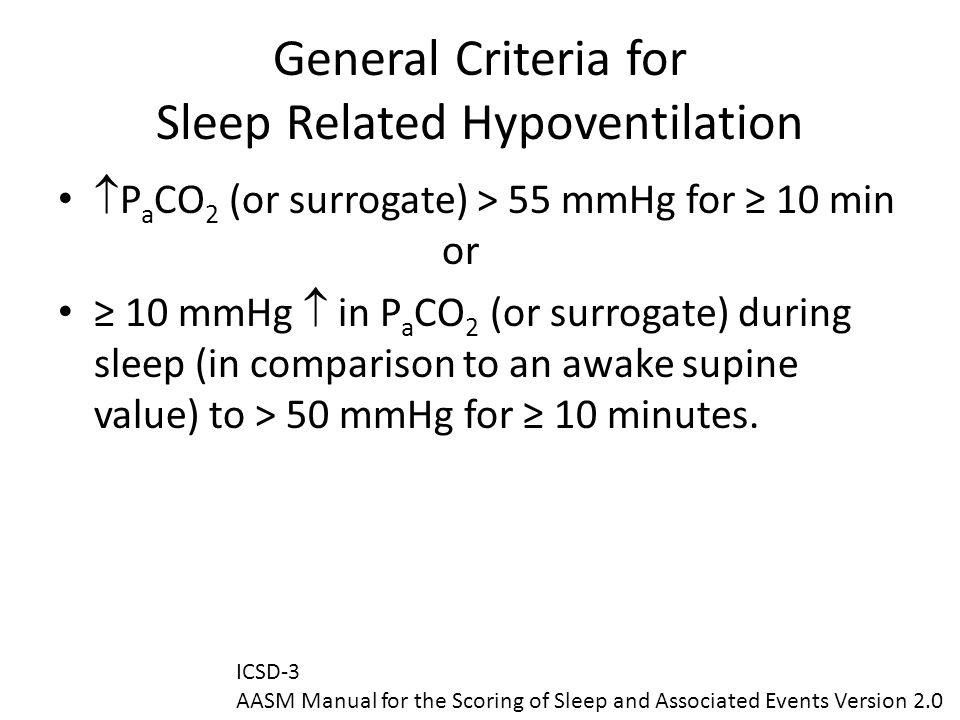General Criteria for Sleep Related Hypoventilation