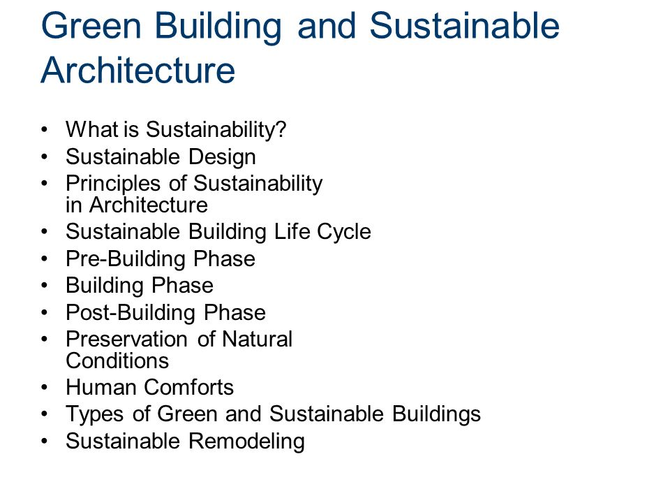 Green Building And Sustainable Architecture