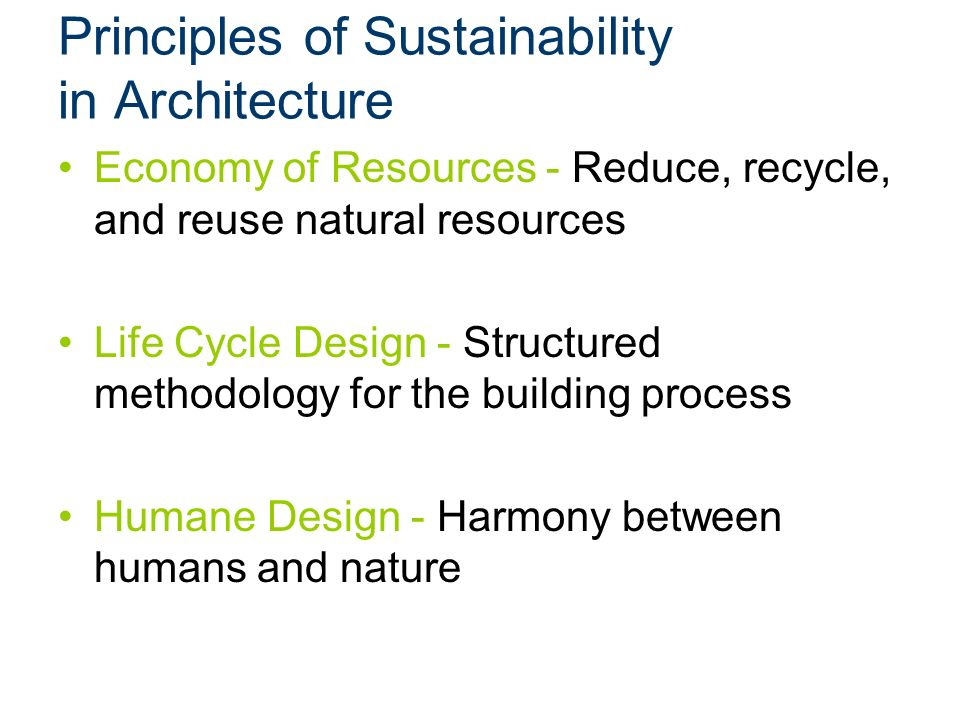 Principles Of Sustainability In Architecture
