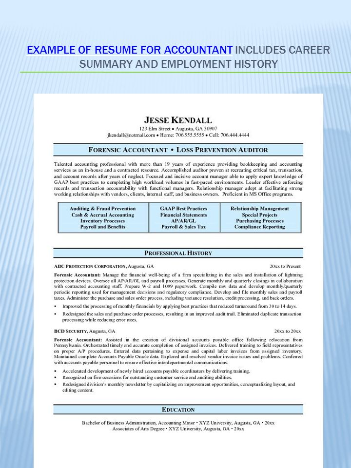 career summary on resume