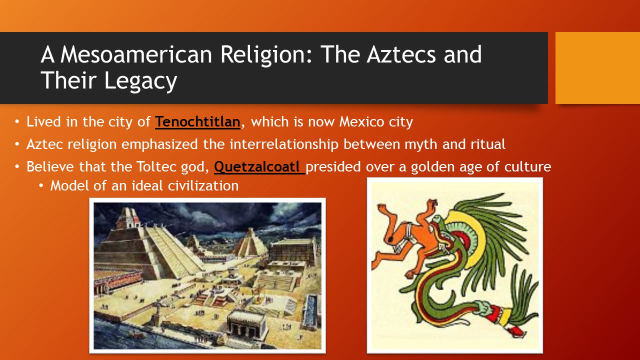 toltec relegion The toltec empire is a bit of a mystery to historians today, there is not a lot of historical evidence that has been discovered it was located in mexico, along the gulf of mexico, around 900-1160 ce rise: the rise of the toltec's is unknown, although historians believe that the people joined together from the teotihuacan society.