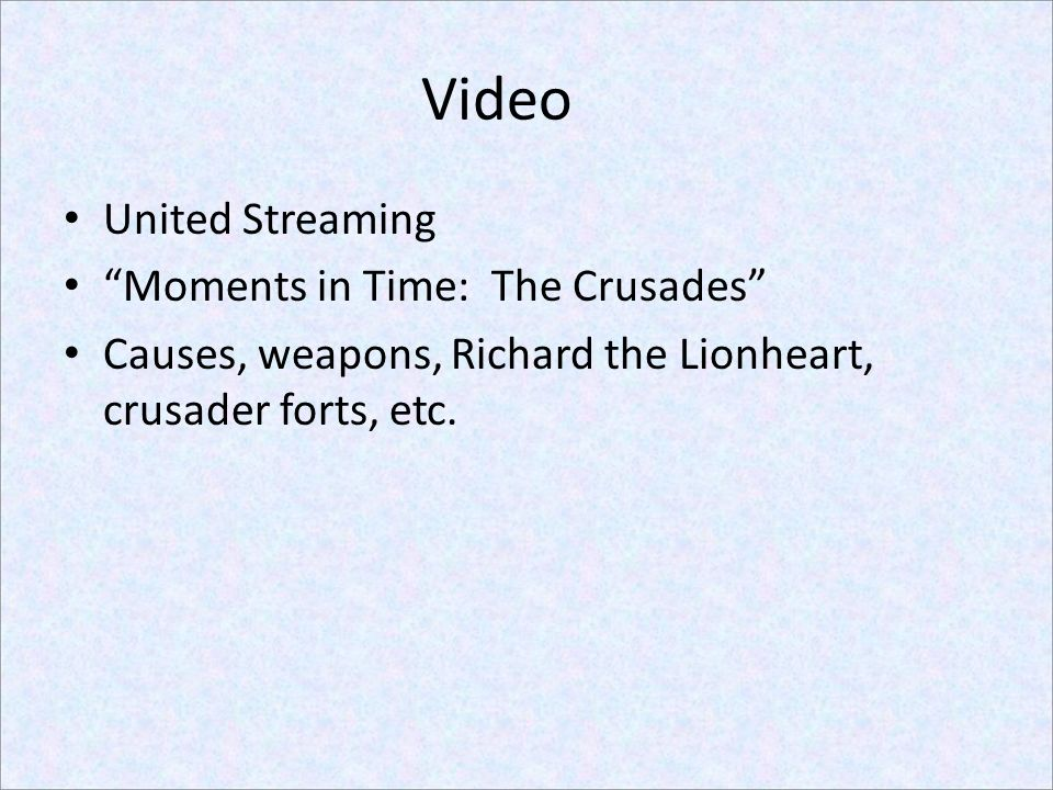 Video United Streaming Moments in Time: The Crusades