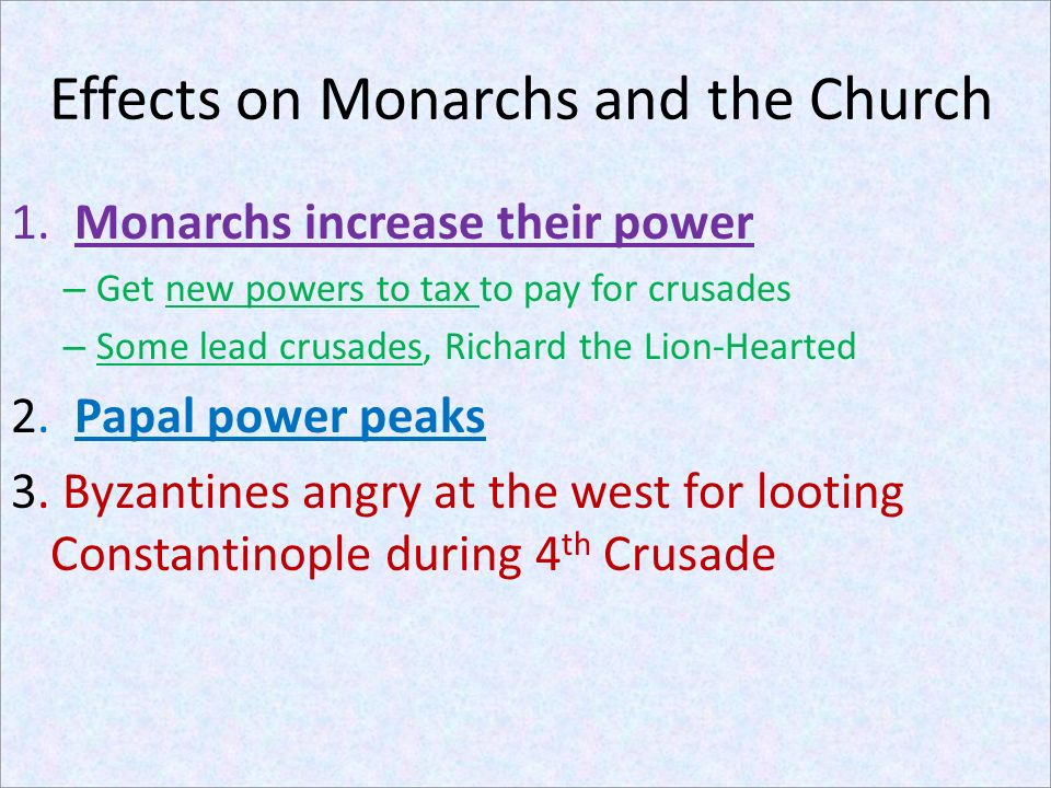 Effects on Monarchs and the Church