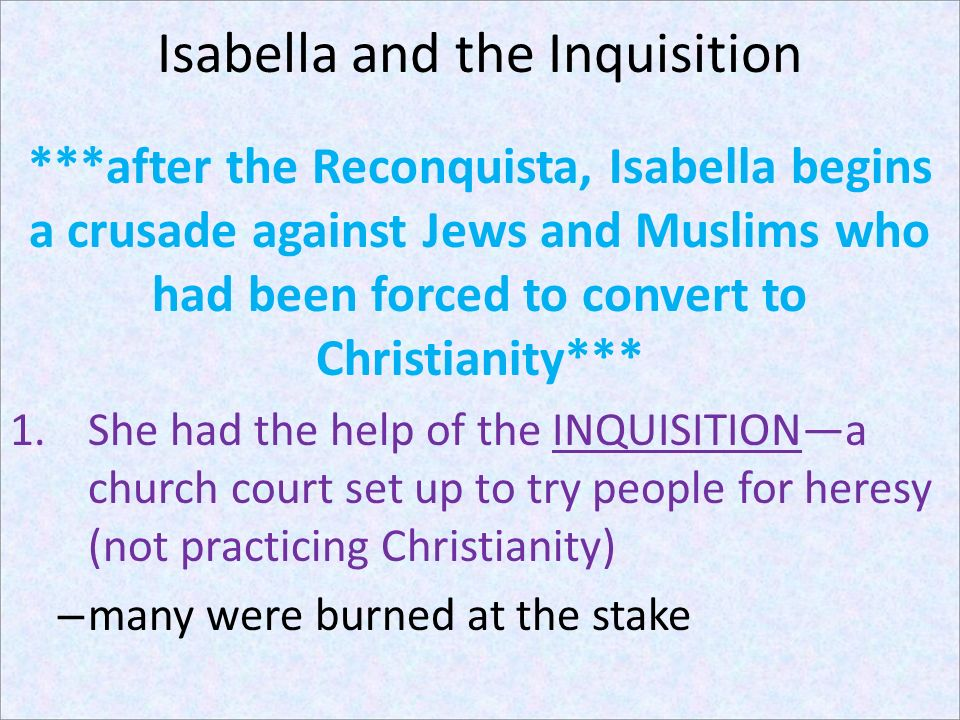 Isabella and the Inquisition