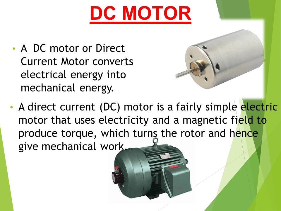 Dc Motors Presented By Enosh Vishwanathan Ppt