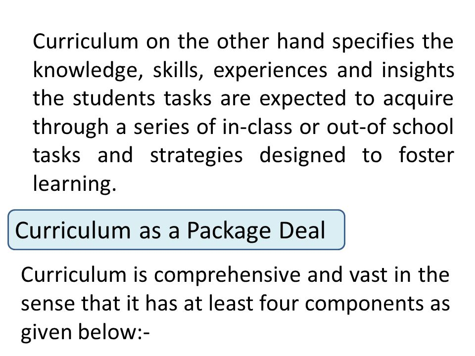 Curriculum as a Package Deal