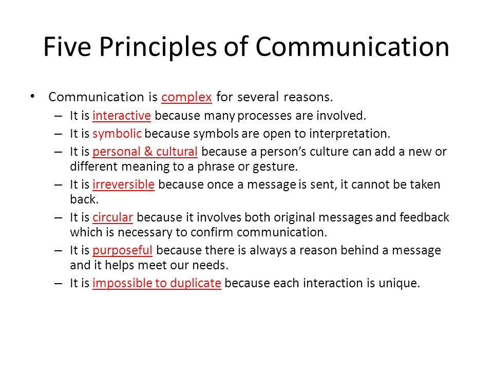 principles of small group communication Small group means two or more freely interacting people having common identity  or characteristics members of small group are inter-dependent to achieve any.