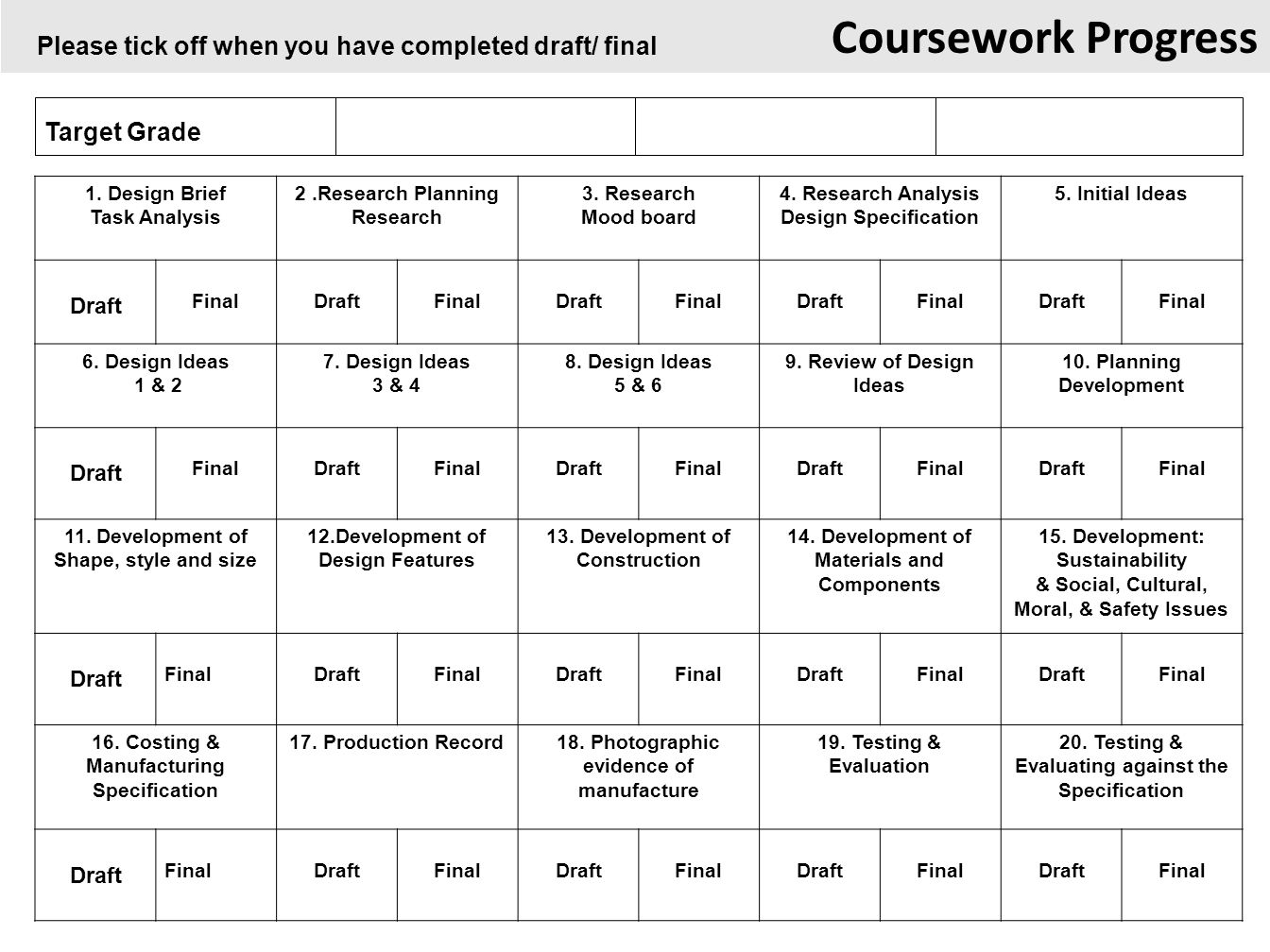 coursework layout