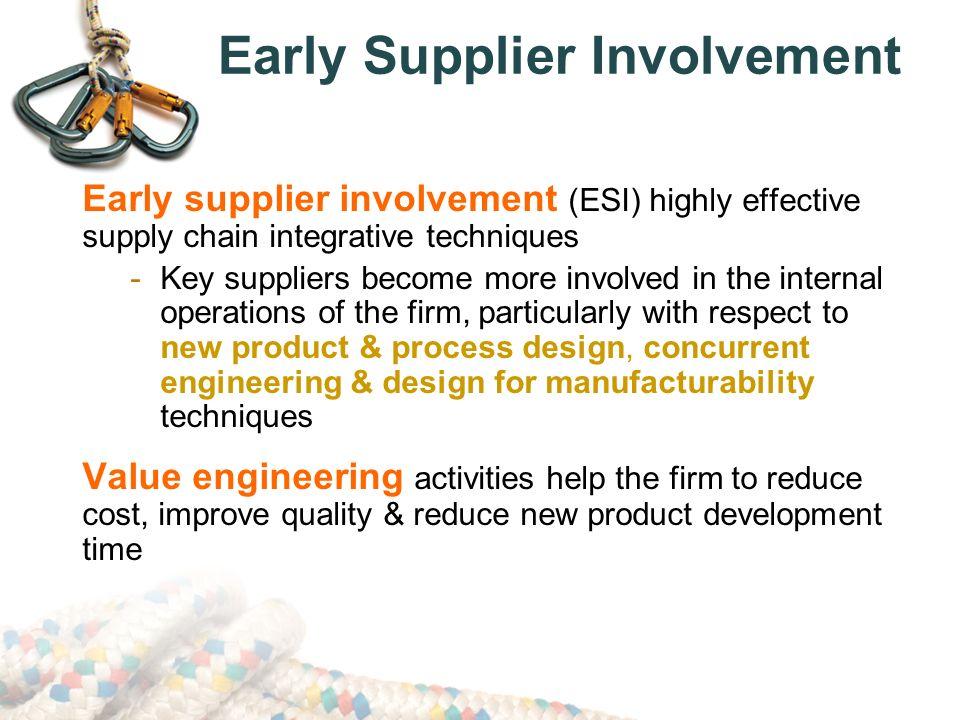 early supplier involvement 早期供應商參與(early supplier involvement,esi)早期供應商參與是指在產品設計 初期,選擇建立了伙伴關係的供應商參與新產品開發小組。通過讓供應商早期參與.
