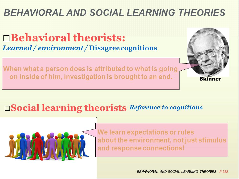 behavioral and social learning theories essay Social and behavioral theories 1 learning objectives after reviewing this chapter, readers should be able to: • define what theory is and identify two key types of social and behavioral science theory.