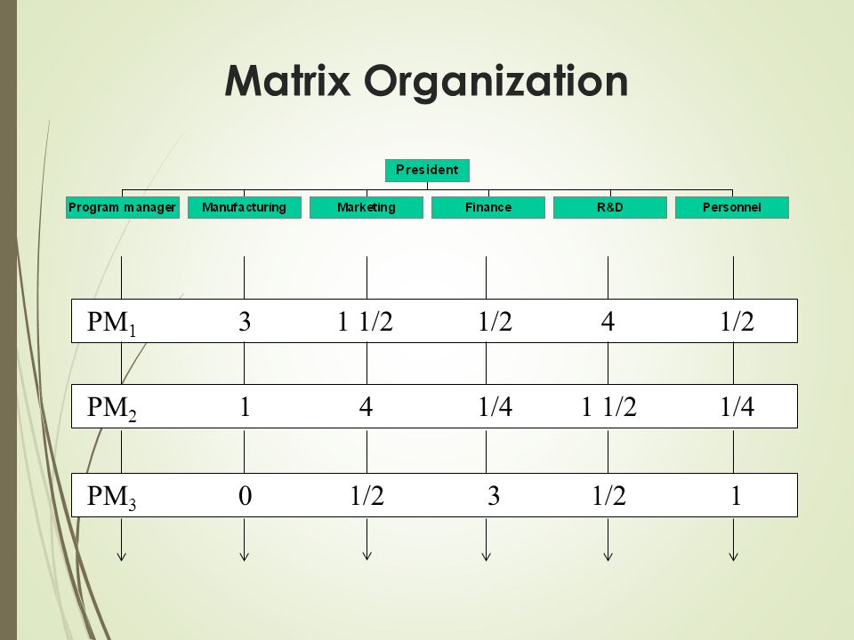 Matrix Organization PM1 3 1 1/2 1/2 4 1/2 PM2 1 4 1/4 1 1/2 PM3 1/2 3