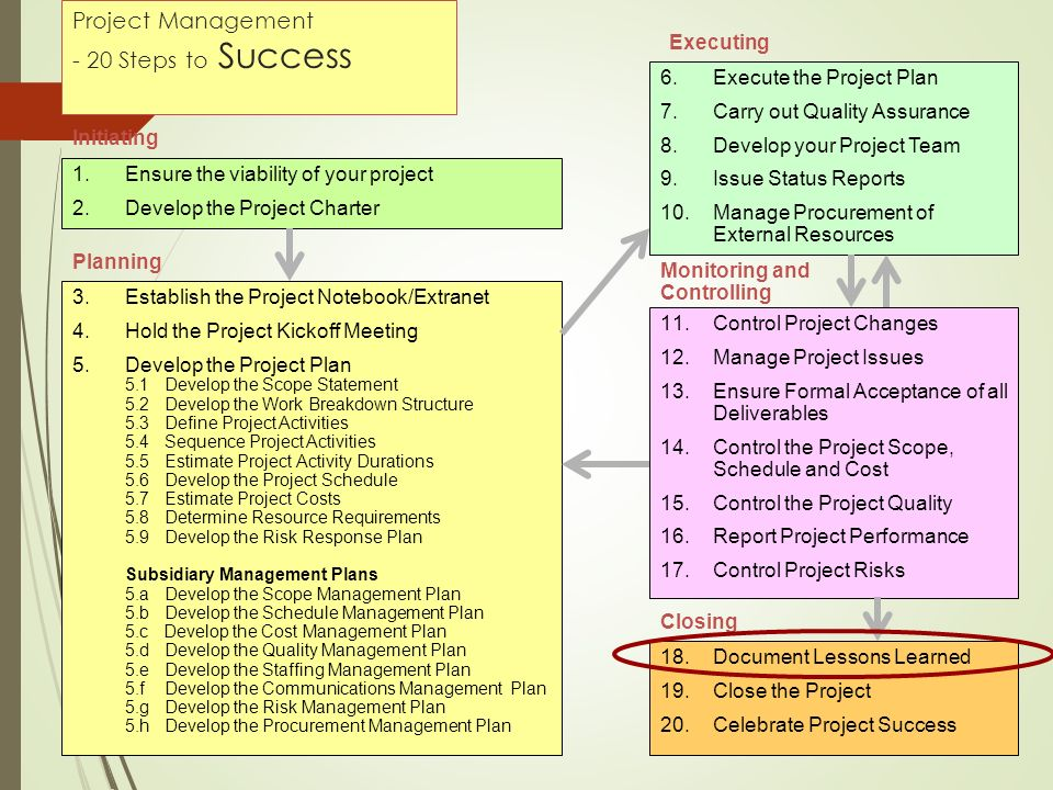 Project Management - 20 Steps to Success