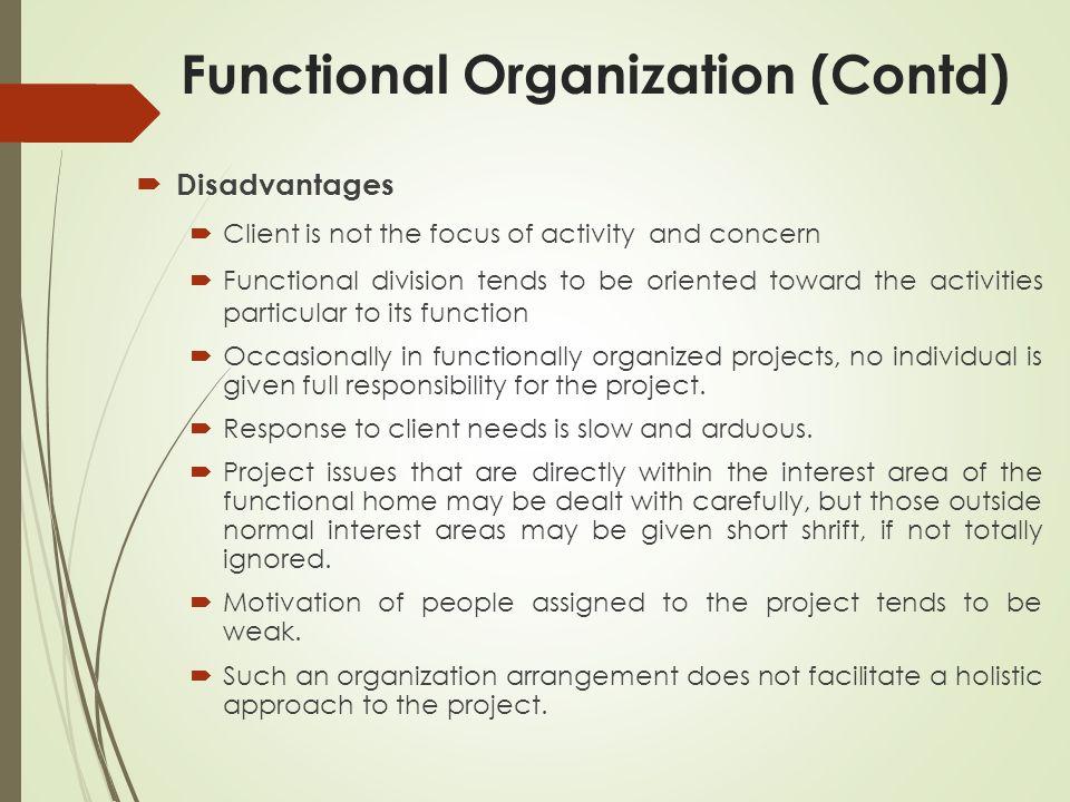 Functional Organization (Contd)