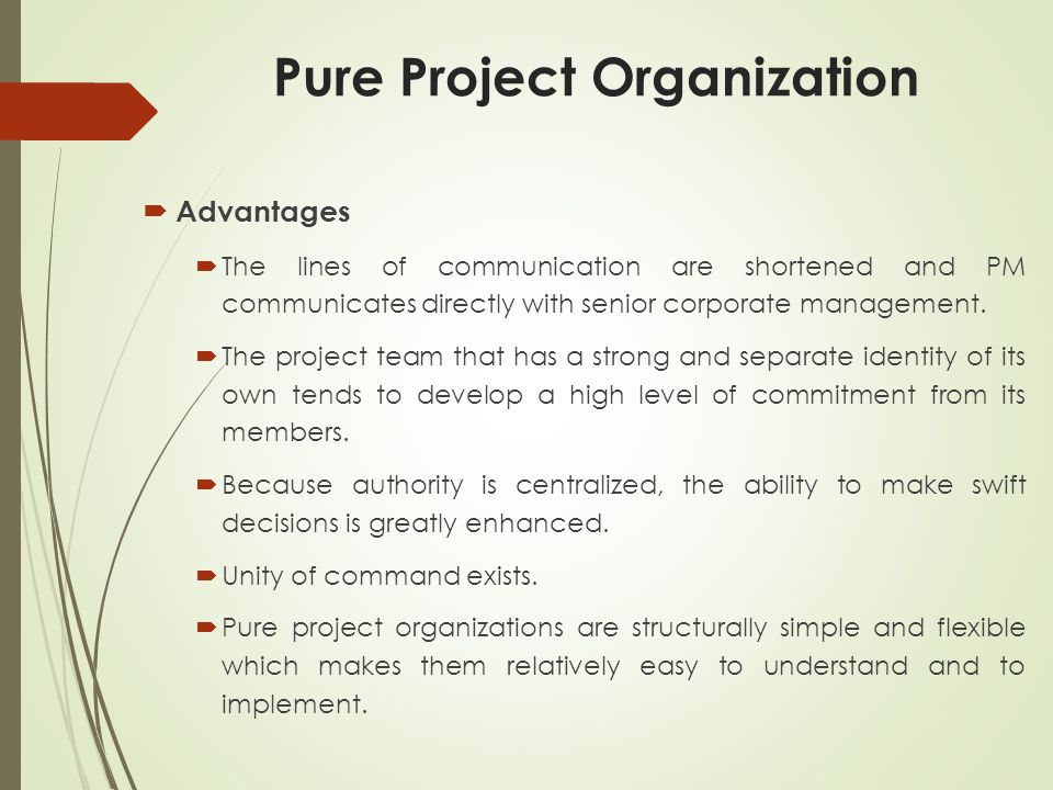 pure project structure the pure project organization Matrix organization and organizational networks  is known as the project or matrix organization  the pure science bodies must stress the importance of.