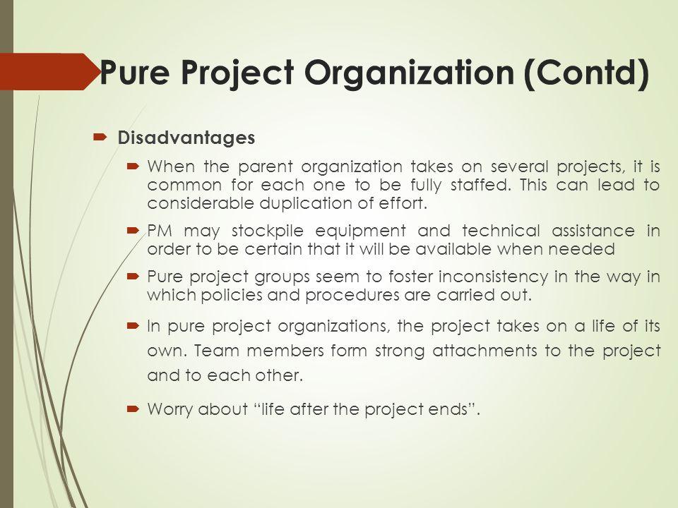 Pure Project Organization (Contd)