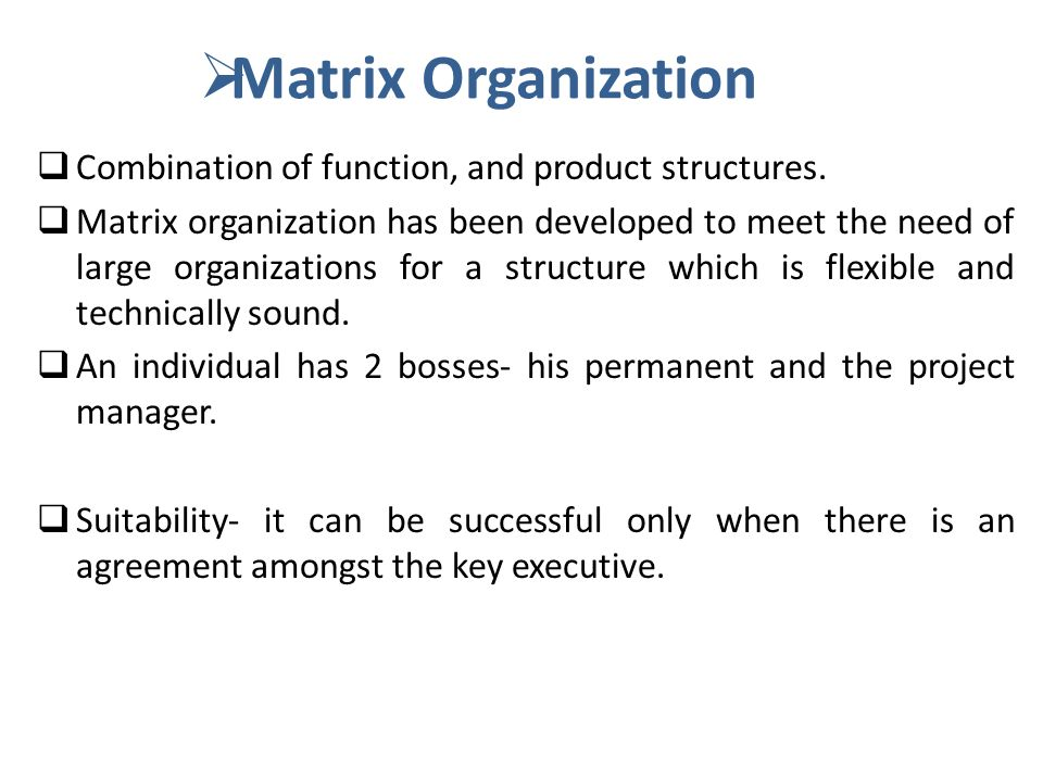 Matrix Organization Combination of function, and product structures.