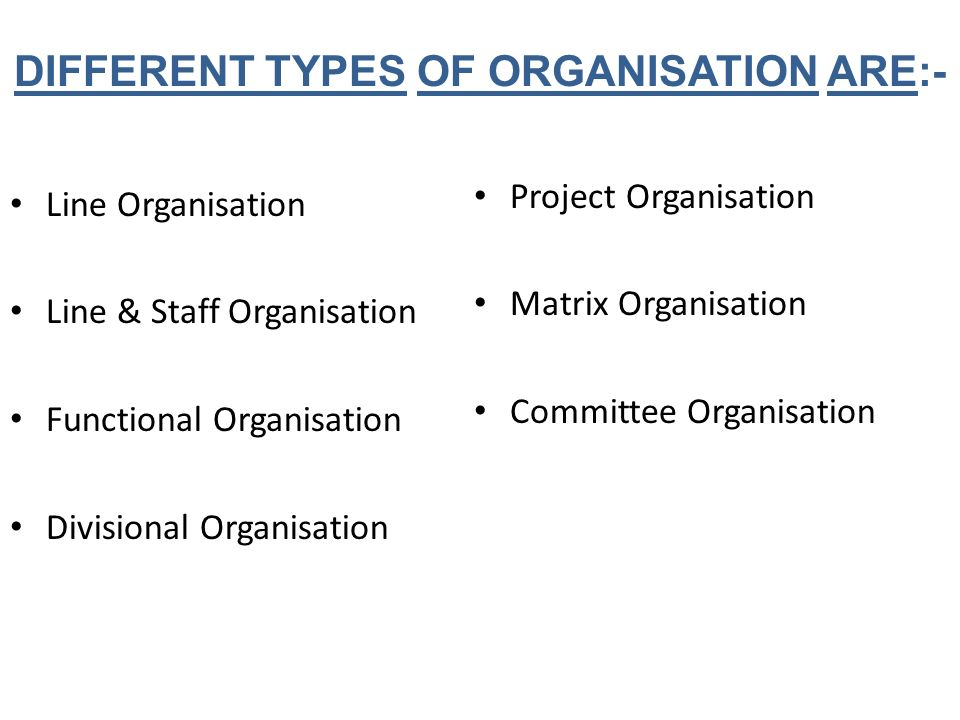 DIFFERENT TYPES OF ORGANISATION ARE:-