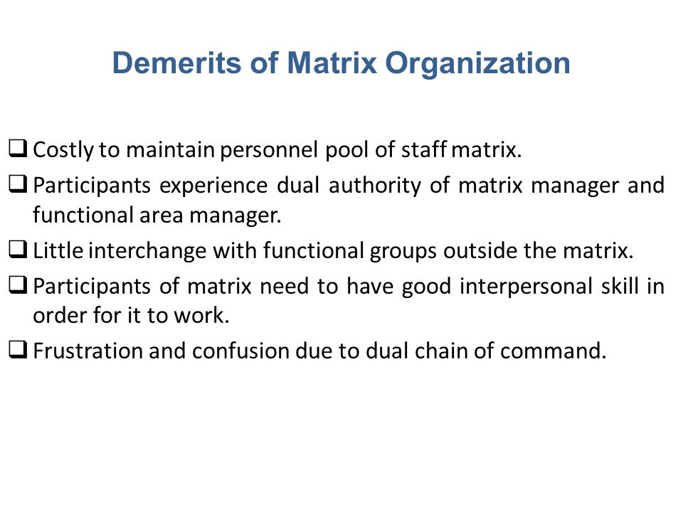 Demerits of Matrix Organization