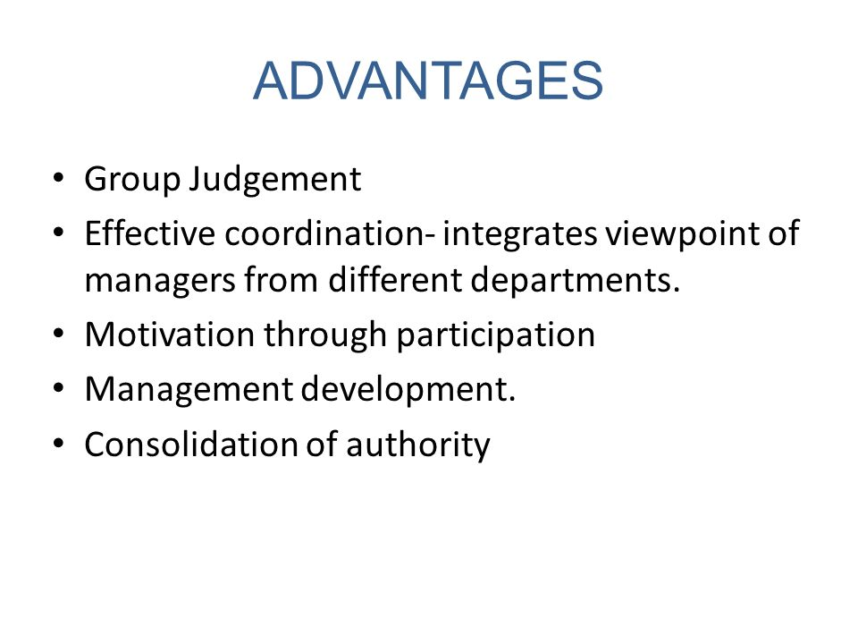 ADVANTAGES Group Judgement