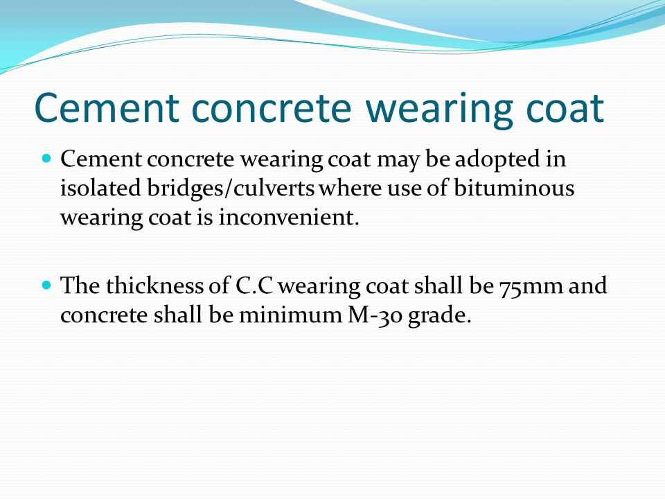 Cement concrete wearing coat