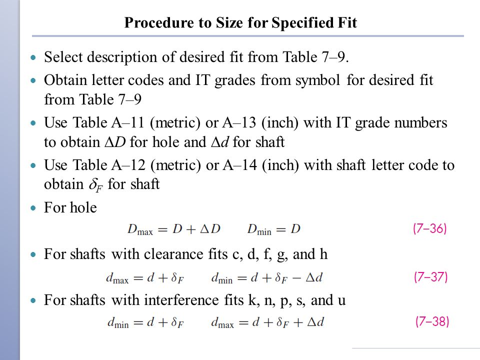 Procedure to Size for Specified Fit