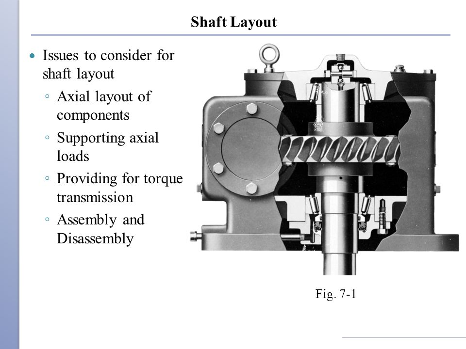 Issues to consider for shaft layout Axial layout of components