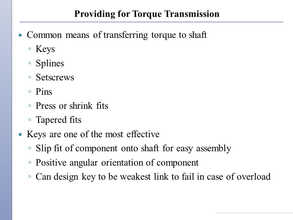 Providing for Torque Transmission