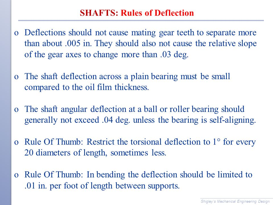SHAFTS: Rules of Deflection