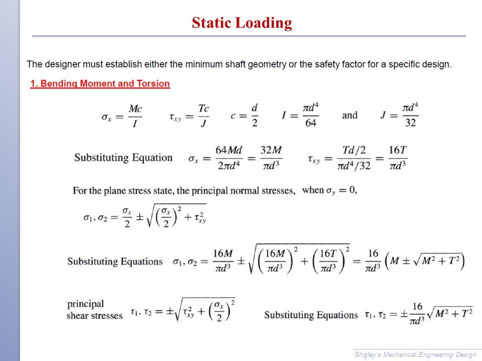 Static Loading Shigley's Mechanical Engineering Design
