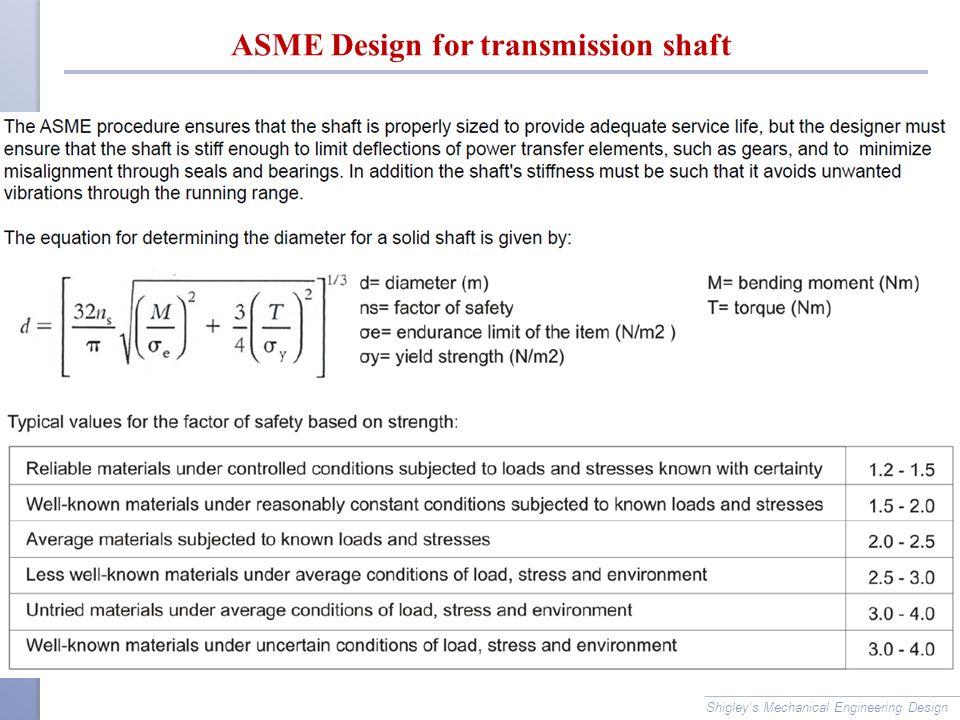 ASME Design for transmission shaft