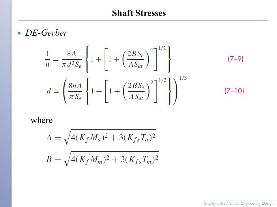 Shaft Stresses DE-Gerber where Shigley's Mechanical Engineering Design