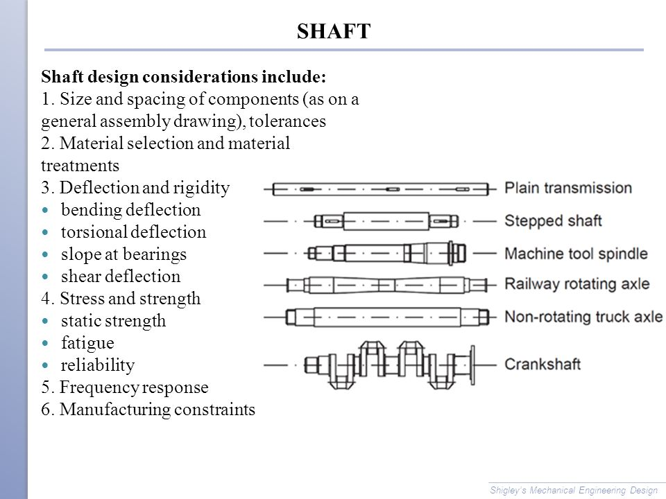 SHAFT Shaft design considerations include: