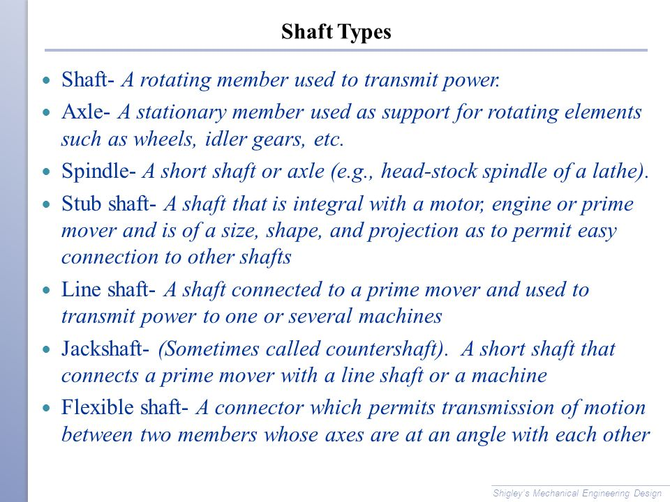 Shaft- A rotating member used to transmit power.