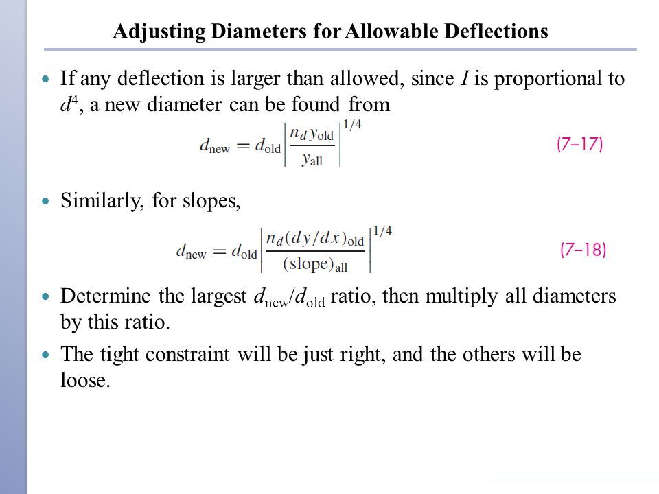 Adjusting Diameters for Allowable Deflections